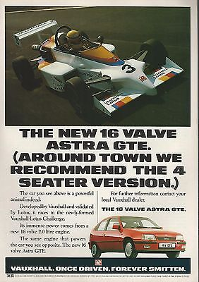1989 VAUXHALL ASTRA advertisement, British advert, Vauxhall Astra GTE with Lotus
