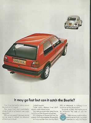 1988 VOLKSWAGEN GOLF advertisement, British advert, VW Golf GTi chasing Beetle