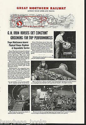 1944 GREAT NORTHERN RR advertisement, Steam Locomotive repair