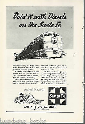 1945 SANTA FE RR advertisement, new diesel locomotives