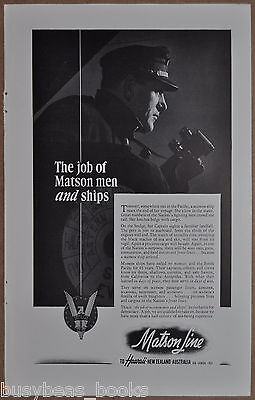 1942 MATSON LINES advertisement, Captain on the Bridge, WWII troop ships