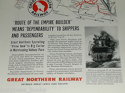 1943 Great Northern Railway advertisement, route map, 2024 2-8-8-0 steam loco