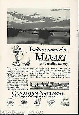 1932 CANADIAN NATIONAL advertisement, MINAKI LODGE, sunset view, CNR