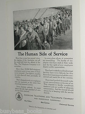 1920 AT&T advertisement page, Post WWI return of servicemen & women