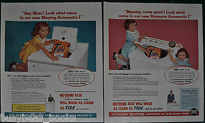 1955 TIDE Detergent advertisement x2 Tide box in washing machines large size ads