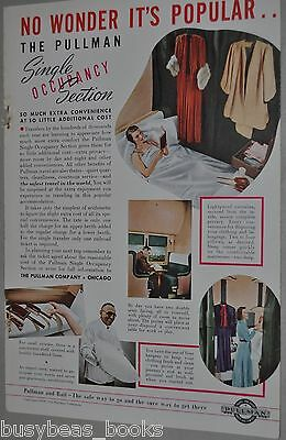 1938 Pullman advertisement, Pullman Car, Single Occupancy Section info & photos