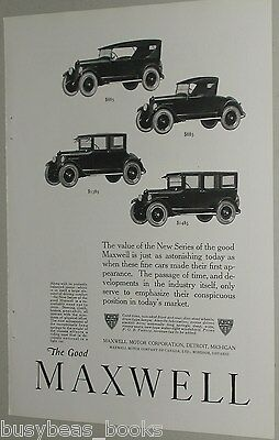 1922 Maxwell advertisement, Maxwell Motor Corporation ad, 4 cars