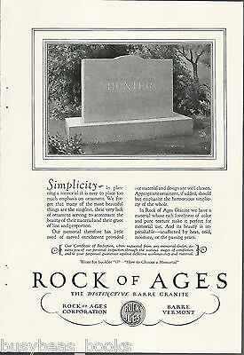 1928 ROCK OF AGES advertisement, HUNTER name on Headstone