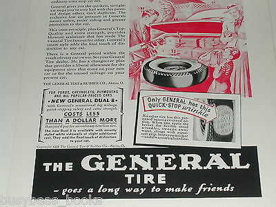 1938 General Tire ad, Dual 8 Tires, spare tire in trunk