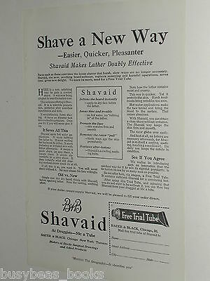 1920 B&B Shavaid advertisement, Bauer & Black shave cream tube