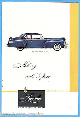 1948 Lincoln Continental advertisement, LINCOLN CONTINENTAL Coupe, color art