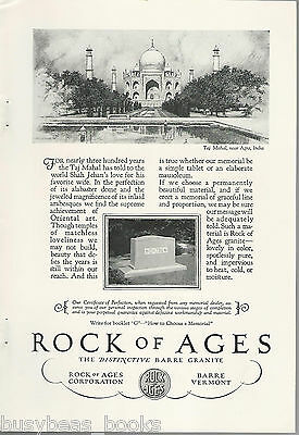 1928 ROCK OF AGES advertisement, DOW name on Headstone Taj Mahal