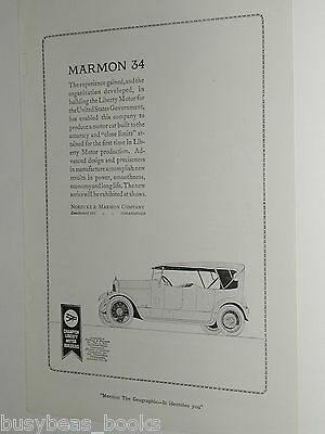 1920 Marmon 34 advertisement page, Nordyke & Marmon Automobile Co. Touring car