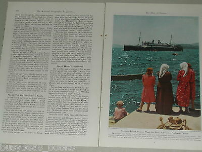 1944 magazine article about GREECE, Greek Isles, history, pre-WWII, color photos