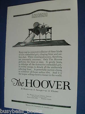 1920 Hoover advertisement page, Hoover vacuum cleaner 1920's dinning room