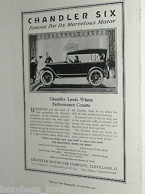 1920 Chandler Motor Car advertisement page, CHANDLER Six Touring Car