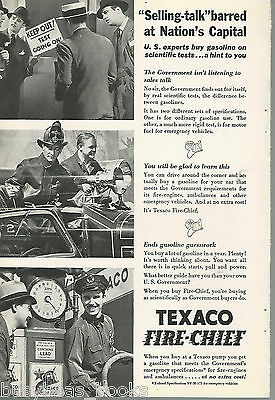 1935 TEXACO advertisement, Texaco Fire-Chief, gas pump, fire engine