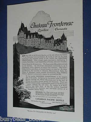 1920 Chateau Frontenac advertisement page, Canadian Pacific Hotels, CPR