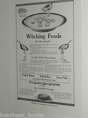 1920 Quaker Oats advertisement page, Puffed Wheat, Rice, Corn,  Witching Food