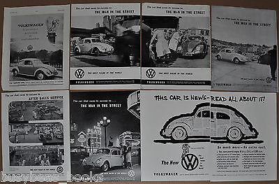 1959-60 VOLKSWAGEN advertisements x7, from British magazines, VW beetle bug