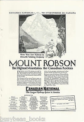 1928 Canadian National Railroad advertisement, CNR, MOUNT ROBSON
