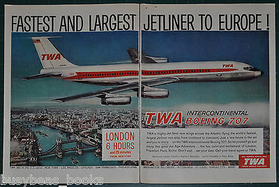 1959 TWA 2-page advertisement, Trans World Air Boeing 707 large format advert