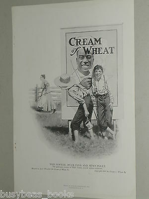1918 Cream of Wheat advertisement page, Mark Twain Tom Sawyer Huck Finn