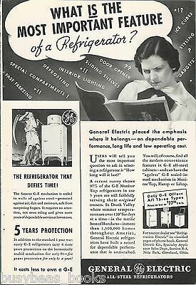 1935 General Electric advertisement, early MONITOR-TOP refrigerator
