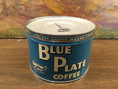 VINTAGE BLUE PLATE  Key Wind Coffee Tin Can