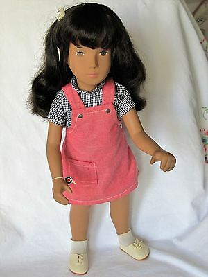 Sasha Brunette Red Pinafore Doll 1980's, Tag - Pamphlet - Box, EXC.