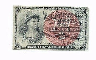1863 10 Cent 10c Fractional Currency Note; 4th Issue Note; Crisp High Grade Note