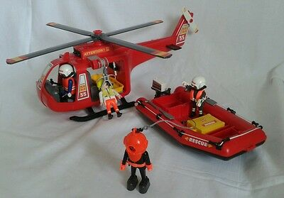 Playmobil Rescue Helicopter And Boat 4428 Incomplete