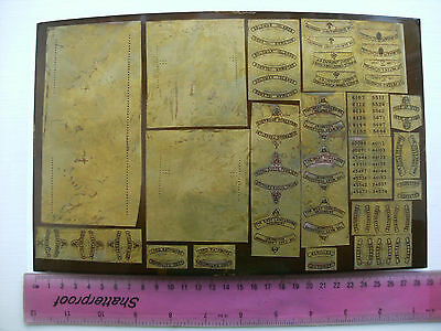 Model Railway Brass Nameplates Plate 1 - 28 Pairs + Numbers Army Regiments etc