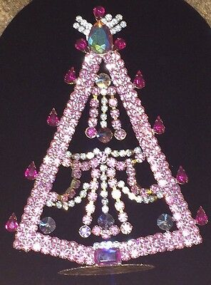 """X-Large 7-3/4 """" Tall Pink Rhinestone -Stand Up ChristmasTree- Marked Bijoux M.G."""