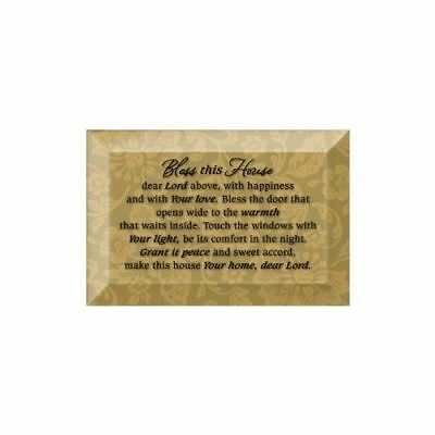 NEW Dexsa Bless This House Beveled Glass Plaque with Easel DX7011