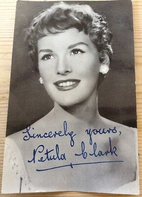 Vintage postcard photo of Petula Clark with printed signature in blue