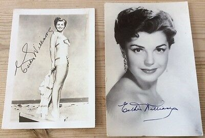 Two postcard sized photographs of Esther Williams with printed signatures
