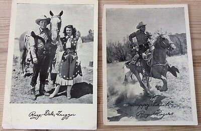 Two vintage postcard sized photographs of Roy Rogers with printed signature