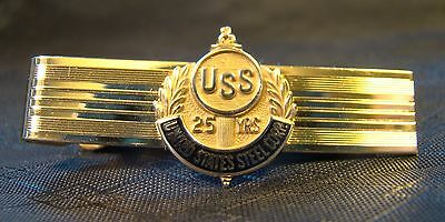 Nice United States Steel Corp. 25 Year 14 K Gold Tie Clip Service Award