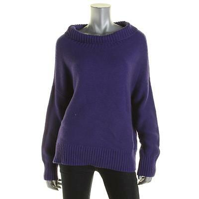 Eileen Fisher 4021 Womens Purple Cashmere Blend Funnel-Neck Sweater Top XL BHFO