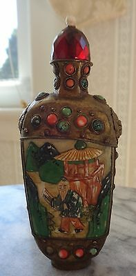 Antique Enameled Brass Snuff Bottle