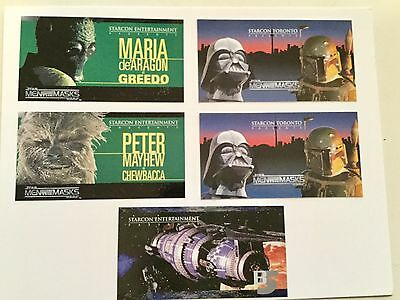 Star Wars and Babylon 5 rare Starcon five cards set 1997/98