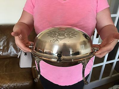 Lovely Silver Plated Dome Topped Bacon Breakfast Food Warmer In Nice Condition