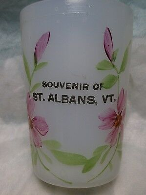 Vintage Souvenir St. Albans Vermont Glass Mug clam broth white glass mid century