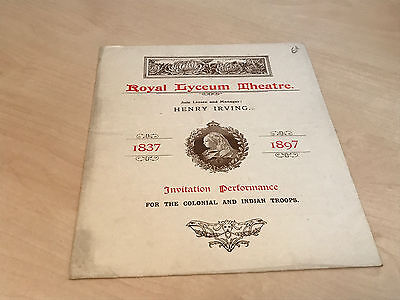1897 Lyceum Theatre Programme Invitation Performance Colonial & Indian Troops