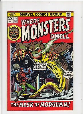 Where Monsters Dwell #18 (Marvel 1972) VF Jim Starlin cover