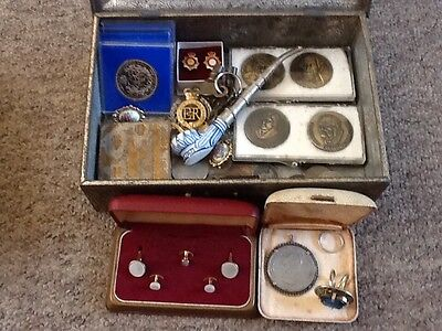 antique / vintage mixed lot of interesting collectables ltems in old tin