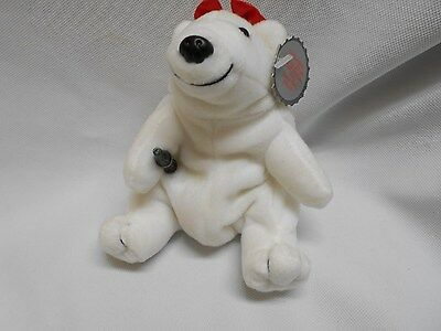 1997 Coca-Cola white polar bear carrying a Coke bottle bean bag plush doll 6""