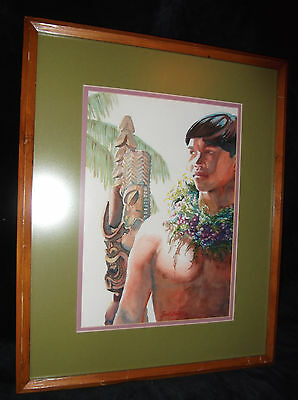 Original Watercolor Painting TIKIS Hawaiian Koa Warrior Hawaii Art~Janet Stewart