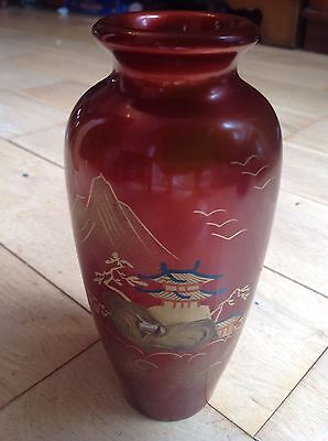 Vintage Red Chinese/Japanese Vase with Mountain/Temple scene-signed 18.5cm tall